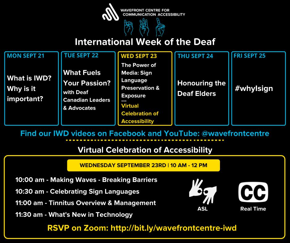 Wavefront Centre International Week of the Deaf schedule of events
