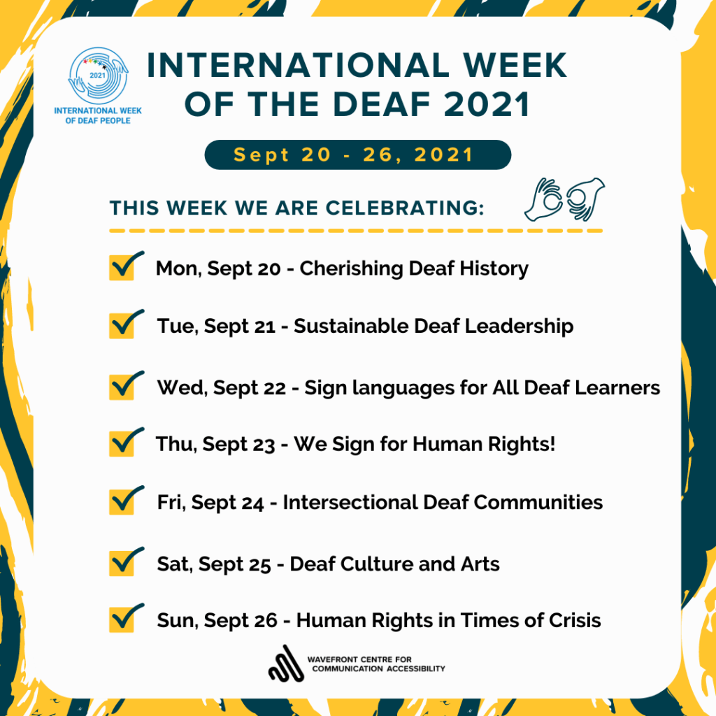 A yellow, dark green and white graffiti illustration of the background under a white graphic box. Accompanying text: International Week of the Deaf 2021. Sept 20 – 26, 2021. This week we are celebrating: Mon, Sept 20 – Cherishing Deaf History. Tue, Sept 21 – Sustainable Deaf Leadership. Wed, Sept 22 – Sign languages for All Deaf Learners. Thu, Sept 23 – We Sign for Human Rights! Fri, Sept 24 – Intersectional Deaf Communities. Sat, Sept 25 – Deaf Culture and Arts. Sun, Sept 26 – Human Rights in Times of Crisis.